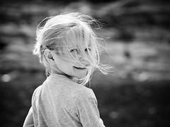Hair (B-Lichter) Tags: portrait bw girl monochrome childhood pen hair blackwhite spring child wind bokeh olympus blonde backlit zuiko 4518 epl7