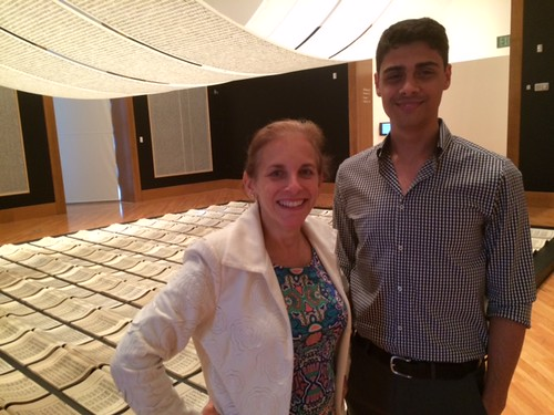 Frost Art museum director Jordana Pomeroy with JeanCarlos Fernandez, marketing, at the Xu Bing exhibition at the museum