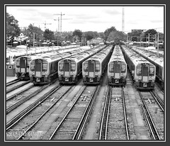 04.07.16 Clapham 450..line up.plus one :) (Tadie88) Tags: nikon18200lens nikond7000 claphamjunction london railways stations tracks trains platforms blackwhite