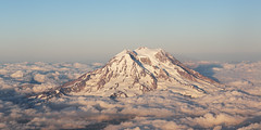 14,441 Feet (Me & My 5D3) Tags: window seat aircraft volcano rainier washington clouds sunset summit snow