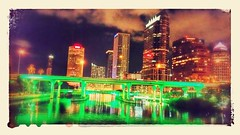 City Lights (edit) (Michel Curi) Tags: downtown urban tampa lovefl fl florida night nighttime water hillsborough reflections lights buildings edificios structures estructuras arquitectura architecture green city ciudad plattstreetbridge bridge