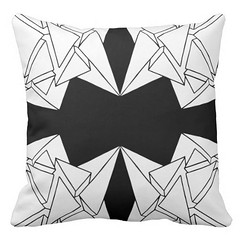 """""""Tri-Burst"""" - Black & White Throw Pillow (CMY-KEY) Tags: home graphicdesign bedroom homedecor bedding patterndesign chicagopattern cameronprather chicagodecor"""