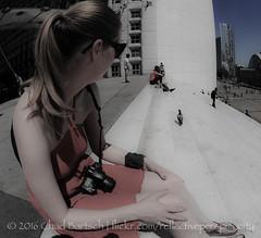 Girl v Pigeon (reflective perspicacity) Tags: plaza bw paris france seine architecture modern europe skyscrapers europeanvacation eiffeltower ladefense fisheye reflective arcdetriomphe modernarchitecture