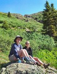 Anna, Ellie & Rocky (knutsonrick) Tags: durango colorado mountaingoat rocky chicagobasin sanjuanmountains rockies hikers needlecreektrail climbers anna ellie goat twinlakes windompeak