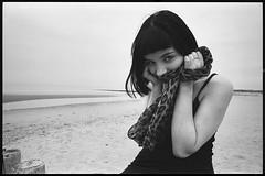 Astrid (3) (Philip Van Ootegem) Tags: young woman blackandwhite monochrome sea beach blackdress