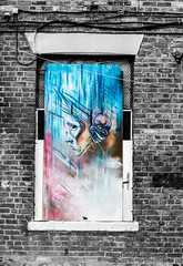 drama in the window contrast (PDKImages) Tags: urban streetart art mill abandoned beauty lady contrast manchester graffiti eyes colours anger lips fortune hidden angry drama fortuneteller unexpected teller liom