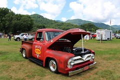 Carshow - Maggie Valley, NC (osubuckialum) Tags: 2016 carshow show maggievalley nc northcarolina 1955 55 ford pickup truck classic custom f100 red v8 mountains smokeymountains field summer july