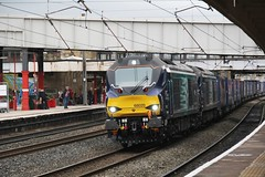 DRS Class 68 power on the 4S43 Daventry to Mossend Tesco Intermodal speeds through Lancaster Castle Station on the Down fast 20th August 2016  (steamdriver12) Tags: drs direct rail services class 68 power 68020 68018 4s43 daventry mossend tesco intermodal speeds lancaster castle station down fast 20th august 2016