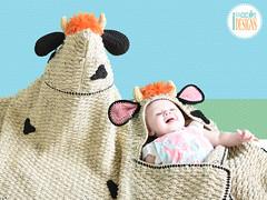 Crochet Cow Blanket with Hood by IraRott (Ira Rott) Tags: cow crochetblanket cowblanket babyblanket crochetpattern irarott