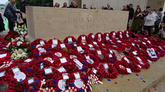 Wreaths at Thiepval on 1st July 2016 (Richard Buckley) Tags: somme centenary picardy france battle war memorial poppies field corn scene view statue soldier basilica cross headstone grave greatwar worldwar1 caribou troops irish newfoundland australian shell artillery cemetery trench ceremony