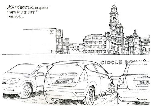 Manchester, 7e symposium Urban Sketchers (gerard michel) Tags: symposium urbansketchers workshop car auto sketch croquis manchester