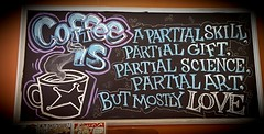 Coffee Is (SarahJDhue) Tags: colorvibefilter sarahjdhue sarahjdhuephotos cellphone samsung galaxys6 coffeeis coffee coffeeshop darkmatter chicago il illinois love chalkboard chalk drawing vingette