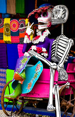 Only in Mexico.... (littlestschnauzer) Tags: mexico skeletons male female mexican festival colour color colourful funny bright summer 2016 central america vacation holiday shop front decorated painted skeleton akumal quintana roo amusing decoration decorative