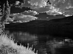 Late Summer Clouds - IR 830nm (MIKOFOX  Show Your EXIF!) Tags: canada mikofox bigfoxlake infraredconversion yukon lake water summer spruce panasoniclumixgx1 830nm fullspectrumconversion gx1 hills august showyourexif clouds infrared lumixgvario1445f3556
