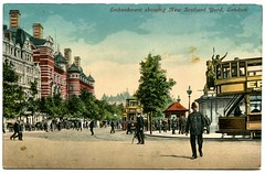 New Scotland Yard, London postcard (The Wright Archive) Tags: london vintage postcard new scotland yard embankment policeman tram colour police city people crowd edwardian wright archive
