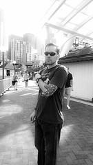 (Eriserinyes) Tags: seattle blackandwhite men guy sunglasses tattoo danny dano dragontattoo seattlewaterfront tattooedmen seattlegreatwheel