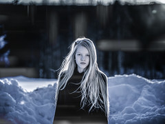 Telepathy (MilaMai) Tags: original winter light portrait snow cold girl face female finland outdoors effects photography artistic wind young longhair human blond mysterious mystic oneperson joensuu blackdress mindreader onechild telepathy lookingatcamera darkmood easternfinland milamai