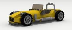 Caterham (revised) (LegoGuyTom) Tags: city classic cars car digital race speed vintage track day power lego lotus pov designer 7 racing exotic seven 1950s legos british 1960s 1970s 1980s supercar 1990s caterham speedster racer roadster povray 2000s ldd