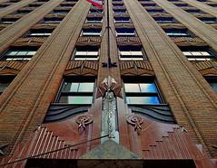 Skyward Sweep (MPnormaleye) Tags: nyc windows brick design 1930s pattern manhattan utata 24mm marble ge deco chevron zigzag