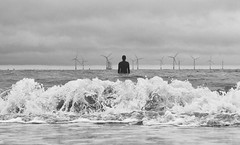 Leaving The Shore Behind (xhupf) Tags: blackandwhite bw beach water clouds liverpool olympus omd crosby mkii anotherplace em5 olympusomdem5