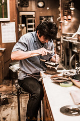 Hand made knives being carved in Kappabashi, Tokyo (shwetabh.mittal) Tags: tokyo knives handmade kappabashi japan travel asia crafts steel amazing expensive artist