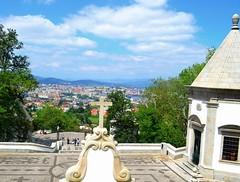 town below (ekelly80) Tags: portugal tenes minho braga june2016 summer bomjesusdomonte church sanctuary goodjesusofthemount view town below lookdown cross steps stairs scenery