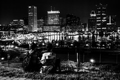 Independent Film (unflux) Tags: city water skyline night buildings lights harbor couple cityscape shadows hill maryland baltimore inner hillside federal