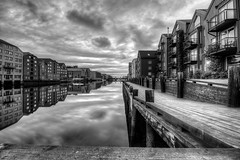 -Bakklandet- (Erik_Chavez) Tags: city travel urban reflection norway buildings norge blackwhite europa cityscape sony trondheim hdr bakklandet nidelven adressa visitnorway visittrondheim