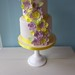 Small two tiered cake with vibrant flowers