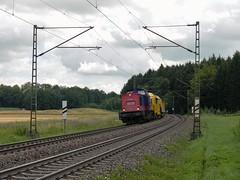 Metrans 745 702 mit Spietzke Bauzug (TrainspotterLitchi) Tags: metrans 745702 spietzke bauzug kbs750 beimerstetten eiselau ulm stuttgart gleise oberleitung gras sommer sonntag