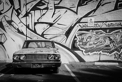 parked (Maureen Bond) Tags: classic car automobile art design tag artsdistrict downtown parked losangeles maureenbond ca