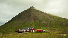 Red house and a mountain. (joningic) Tags: red house houses iceland fljt skagafjrur mountains mountain july landscape summer redhouse car