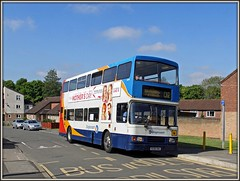 R698 DNH, Trafalgar Way (Jason 87030) Tags: volvo olympian d2 daventry withdrawn veteran vintage 16698 stagecoach southbrook estate road morning srvice route northants northampton may 2016 northamptonshire r698dnh oly lens scene camera greatbritain image portfolio shot picture