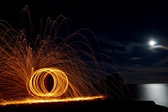 Wire Wool (Sarah Marston) Tags: wirewool dorset portlandbill fire sea moonlight sony a65 longexposure alpha august 2016