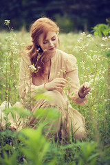 Claudia (lucrecia lee) Tags: flowers retro vintage longhair redhead redhair colourful colour curlyhair curls charming woman youngwoman delicate stylish sensual subtle park meadow flower green beauty beautiful bigeyes face fulllips fashion girl gorgeous graceful glamour glamorous gown victorian