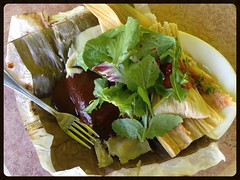 Tamales with Mole on Banana Leaf (Melinda Stuart) Tags: tamale mole oaxacaa oaxaca scratch herbs oakland lunch mexican plate restaurant maiz corn steamed wrapped ethnic leaves greens punch aviary