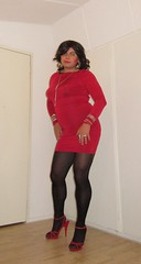 my personal favorite: the little red dress (Barb78ara) Tags: lrd littlereddress tightdress tightreddress nylon nylons pantyhose tights zippernylon zippertights sandals strappysandalettes sandalettes redheels strappyredheels highheels heels stilettoheels