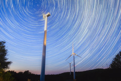 You Spin Me Right Round (reflectioninapool) Tags: thomas westvirginia architecture astrophotography blue horizontal landscape light longexposure night north outdoors polaris rectangle rotation sky startrails stars sugarlands twilight windturbines windmills
