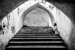In the Tunnel-DSC_7811 (thomschphotography3) Tags: indonesia asia southeastasia tunnel yogjakarta jogja beggar woman blackandwhite streetphotography waterpalace tamansari