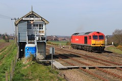 Thoresby Colliery (GBRf 66702) Tags: blue red yellow spring warm rail db route signals 1000 services direct signalbox learner colliery worksop thoresby freightliner drs sidings dbschenker