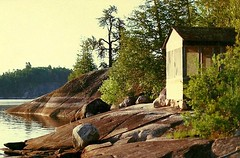 0456 (Marbeck53) Tags: trip travel trees vacation lake ontario canada building water canon landscape scenery rocks boulders shack shrubs laclacroix marbeck bounderywaters markriesenbeck
