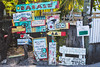 """We Are NOT On Lonly Planet"" (Davuuus) Tags: street sign honduras babalu utila"