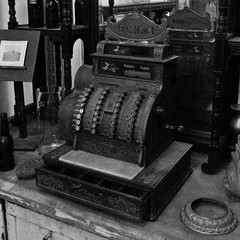 Cash Register (ramseybuckeye) Tags: columbus ohio white black art monochrome pentax architectural cash register salvage