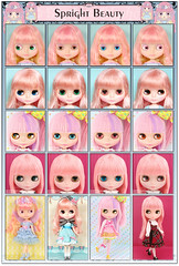 Neo Blythe Comparison: Spright Beauty (SB/First), Coco Collette (CoCo/Second), My Little Candy (MLC/Third), and Stella Savannah (StSa/Last)