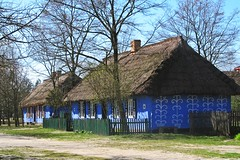 decorated house :) (green_lover (your COMMENTS are welcome!)) Tags: house houses skansen maurzyce poland village folklore architecture wooden blue fence openairmuseum