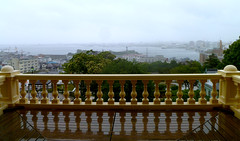 an imperial vista of hakodate (citizensunshine) Tags: panorama reflection rain japan harbor hokkaido harbour balcony patio rainy jp vista railing motomachi hakodate balustrade balusters baluster oldpublichall