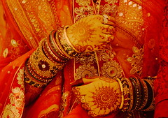 The Indian bride! (mukesh.barnwal) Tags: red india beauty bride traditions marriage bangle mehendi saree puja mehndi bangles