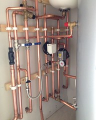 Airing cupboard. (A.S.Colbert Plumbing + Heating) Tags: plumbing heating plumber cylinder unvented pipes copper new water build house construction work colbert