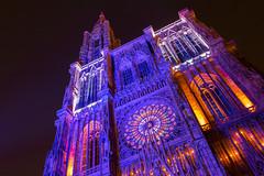 Cathdrale illumin (tkregphoto) Tags: strasbourg france europe cathedrale purple night sky stars canon