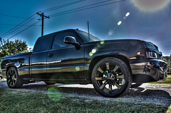 2211 (Strangely Different) Tags: diesel chevy 1500 powerstroke ford silverado slammed jacked force american 22x14 1958 delray